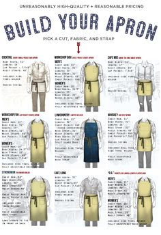 Chef and Server Apron Sizing Guide from Butcher and Baker - Built in Philadelphia.