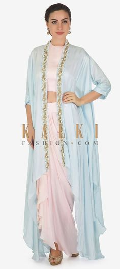 Daisy Pink Crop Top With Cowl Drape Skirt Matched With Embroidered Fancy Jacket Online - Kalki Fashion Western Dresses, Indian Dresses, Lehnga Dress, Lehenga Choli, Fashion Illustration Dresses, Yellow Crop Top, Draped Skirt, Floral Jacket, Sari