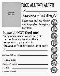 Food Allergy Alert Handout. For Daycare, Sub folders, and Specials Teachers to compliment FARE's Emergency Food Allergy, and Anaphylaxis Plan.