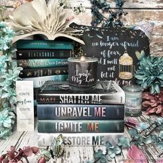 Have you ordered your Shatter Me limited edition box yet? If you are a fan go go go! The pillow in the background is from a past amd designed by The bookmark and Ignite My Love candle are by Ya Books, Good Books, Books To Read, Shatter Me Series, Book Background, Favorite Book Quotes, Beautiful Book Covers, World Of Books, Romance
