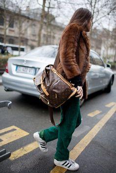 Paris Fashion Week Street Style 2016 | Fur jacket + green pants + Louis Vuitton backpack