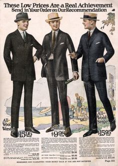 1920s men's suits - Early 1920s style or Jazz age fashion at VintageDancer.com