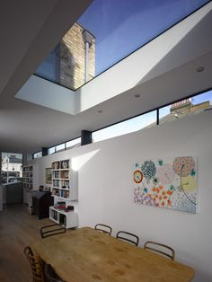 Dining Room decor ideas - amazing skylight in this modern rustic style dining room | Salcott Road, London SW11