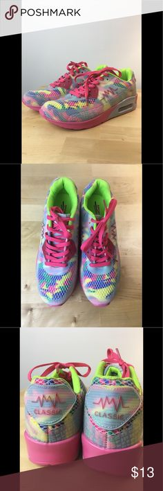 🌈🦄🌈🦄 Bright Multicolored Sneakers But really, how can you say no to these shoes??  They literally have ALL of the highlighter colors AND bright pink soles!  🌈🌈🌈. Also super comfy and brand new!  You just need these in your life because just looking at them will make your day.  Make me an offer ASAP.  Size 40 Asian will fit you amazing if you are an 8 or 8.5 US!  I am a ⭐️⭐️⭐️⭐️⭐️ posher and I ship pronto! These shoes will make you a 🦄! Shoes Athletic Shoes