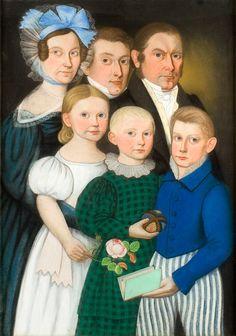 Stunning Folk Art Family Portrait. This and more rare American folk art for sale on CuratorsEye.com