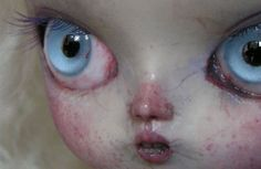 "rootfish: "" Close up of a creepy ass doll's face. Creepy Art, Creepy Dolls, Scary, Ghost Faces, Good To See You, Doll Parts, Monster High Dolls, Custom Dolls, Doll Face"