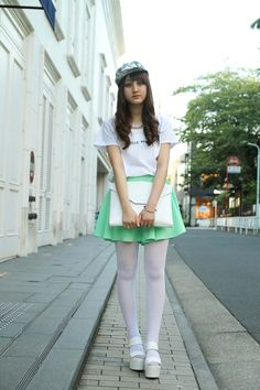 Street of Harajuku, Tokyo Colored Tights Outfit, White Tights, Nylons, Pantyhose Outfits, Girly Girl Outfits, Pretty Outfits, Cute Asian Girls, Beautiful Asian Girls, Young Girl Fashion
