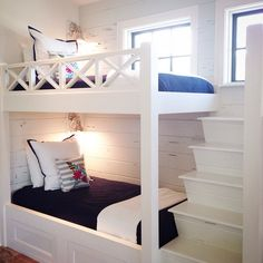 Perfect for a lakehouse One Bedroom, Girls Bedroom, Bedrooms, Alcove Bed, Pecky Cypress, Bunk Rooms, Bungalow House Plans, Kid Beds, Bunk Beds