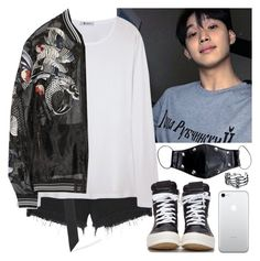 """(임현식) Im Hyun Sik (BTOB)"" by evil-maknae ❤ liked on Polyvore featuring rag & bone, Versace, T By Alexander Wang, 3.1 Phillip Lim, Rick Owens and Bling Jewelry"