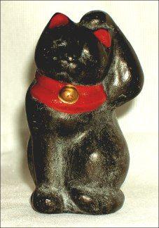 Maneki Neko - Painted Clay. Circa Early-20th Century.