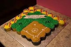 softball cupcakes - Google Search by essie Softball Cupcakes, Softball Treats, Softball Gifts, Softball Players, Softball Stuff, Softball Things, Softball Cheers, Softball Cookies, Senior Softball