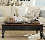 I want to do something similar with my coffee table. I just need to replace the top, but the base i have is almost the same!  Keaton Coffee Table - Artisanal Black | Pottery Barn