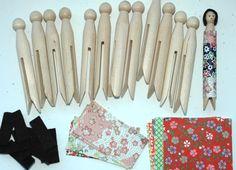 Japanese Clothespin Doll Kit by sentimentalbaby on Etsy