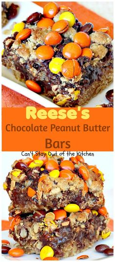Amazing chocolate brownie made with oatmeal and peanut butter, a chocolate-condensed milk layer and Reeses pieces on top. Reese's Chocolate, Peanut Butter Chocolate Bars, Peanut Butter Desserts, Chocolate Filling, Chocolate Recipes, Peanut Recipes, Chocolate Party, Chocolate Muffins, Chocolate Truffles