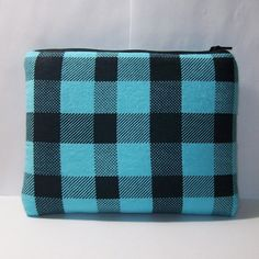 Padded Pipe Pouch Aqua Black Bag Plaid Pipe Case Glass Pipe by PouchAPalooza.com