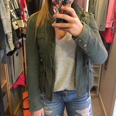 Army Green Jacket So cute and stylish, one of my favorite pieces in my closet! Sad to see it go but I have out grown it. It is in beautiful condition! It has a subtle peplum flare to it when you pull the ties tight but can also have a straight-edge look. Candies Jackets & Coats Jean Jackets