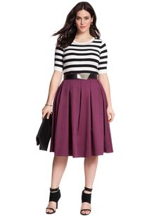 Love everything about this look ... except for the sandals  Studio Midi Skirt | Women's Plus Size Skirts | ELOQUII
