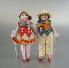 Pair Hertwig All Bisque Dolls Vintage German Flapper Sisters