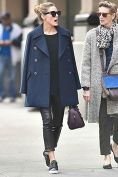 Olivia Palermo wearing Le Specs Half Moon Magic Sunglasses, Kurt Geiger Labelle Slip-on Satin Trainers, J Brand 8001 Leather Skinny Pants, Max&Co. Boston Bag and Max&Co. Dispensa Double Weave Pea Coat in Midnight Blue