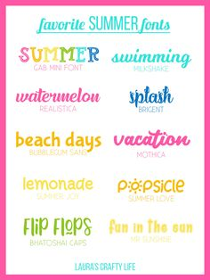 10 of my favorite personal and commercial use summer fonts to use in your projects for summer parties and beach days. Japanese Graphic Design, Vintage Graphic Design, Graphic Design Layouts, Graphic Design Posters, Brochure Design, Cute Fonts, Fancy Fonts, Handwritten Fonts, Calligraphy Fonts