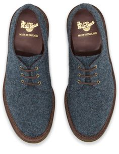 Dr. Martens 1461 Shoe in Blue Harris Tweed  Made In England