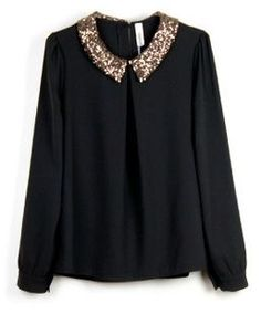 Vintage Sequined Black Chiffon Long-sleeved Shirt Collar style in Indressme Black Chiffon Blouse, Chiffon Blouses, Chiffon Shirt, Look Fashion, Fashion Outfits, Womens Fashion, Mode Inspiration, Mode Style, Passion For Fashion