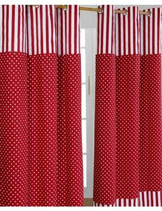 Gardinen Polka Dots & Streifen rot 2er Set 228 x 137 cm