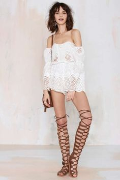 Stone Cold Fox Aden Lace Romper - White - Rompers + Jumpsuits | Clothes | All | Off The Shoulder      #streetstyle