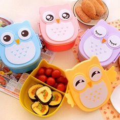 Envase de alimento Búho Portátil Caja de Almuerzo Bento Plástico Lindo de la Historieta de Alimentos Contenedor de Almacenamiento De Frutas