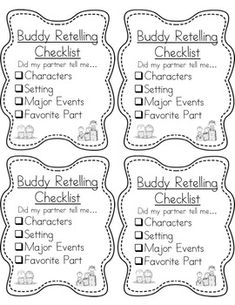 Retelling checklist for buddy reading! Free from
