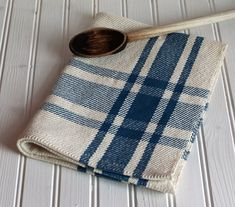 woven kitchen towels | Handwoven kitchen tea towel / colonial blue & ivory farmhouse plaid ...