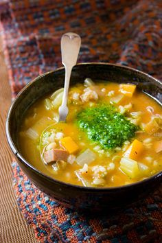 Slow-Cooker Barley Soup with Spinach Pistou | Healthy Seasonal