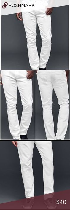 Men's Gap skinny jean New with tags. 34X30 or 33X32 until sold out. Sits low on waist. Skinny through the leg. Skinny leg opening. Stretch for comfort. White Jean Gap Pants