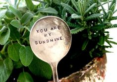You are my Sunshine Vintage Silverware Garden Marker. This Antique Silverware Garden Stake will brighten up your little garden. You will not receive the one pictured but the one I use you will love. Garden Stakes, Garden Art, Home And Garden, Dream Garden, Garden Fences, Plant Markers, Garden Markers, Decoration Plante, You Are My Sunshine