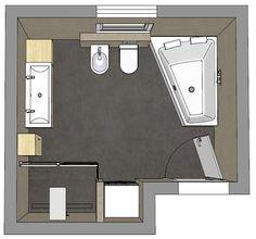 Badplanung mit grosser Dusche und asymetrischer Badewanne