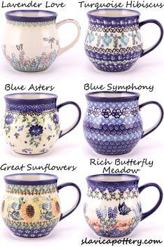 Made by Ceramika Arkadia, Boleslawiec, available at slavicapottery.com. Slavica Polish Pottery Polish Pottery, Pottery Mugs, Tea Cups, Coffee Cups, Tea Set, Home Crafts, Tea Party, Dinnerware, Stoneware