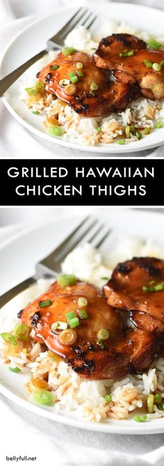 hawaiian food recipes Grilled Hawaiian Chicken Thighs - craving Hawaiian barbecue, but arent in Hawaii? This is the next best thing. Grilled Chicken Thighs, Chicken Thigh Recipes, Grilled Chicken Recipes, Grilled Meat, Chicken Meals, Chicken Freezer, Hawiian Bbq Chicken, Hawaiian Grilled Chicken, Pineapple Chicken