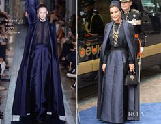 In a very interesting coincidence, Sheikha Mozah bint Nasser al Missned of Qatar also wore a caped look during the inauguration of King Willem-Alexander of the Netherlands yesterday, but in a subtle navy hue so as not to upstage Queen Máxima. Looking as elegant as ever, Sheikha Mozah wore a Valentino Spring 2013 Couture look. https://www.facebook.com/NaturalHealthStore.US