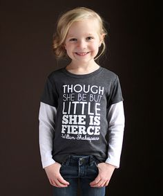 Look at this The Talking Shirt Gray 'She Is Fierce' Long-Sleeve Tee - Infant, Toddler & Girls on #zulily today!