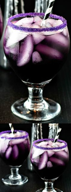 "This Purple People Eater Cocktail recipe from Homemade Hooplah is the perfect Halloween Drink recipe for grown ups! It combines all of your favorites — curaco, grenadine, vodka, cranberry juice, and a few other things to give it the purple ""creepy"" color perfect for any party or gathering!"