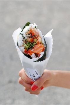 Like how crepes are rolled up pancakes, this is rolled up sushi...