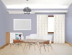 Lila en wit vormen een perfect kleuren pallet. Houten accenten komen extra goed tot zijn recht. Ga bijvoorbeeld voor een leuk kastje van hout of een mooie eettafel.