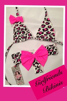 Bow Bikini Set in Leopard with Hot Pink Bows with Strappy Bottoms and Scrunch Butt Bottom by Girlfriends Bikinis