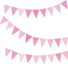 FunToSee Bunting Wall Stickers (Vintage Pink)