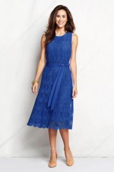 Also, cute, easy dress for Mom's of wedding couple.  Women's Sleeveless Lace Column Dress from Lands' End
