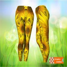 Sunflower leggings, Spring Leggings, Flower leggings, Yellow Leggings, Funky Leggings by ImagineAvalon on Etsy Funky Leggings, Yellow Leggings, Polka Dot Leggings, Toddler Halloween Costumes, Cool Fabric, Cool Outfits, Trending Outfits, Etsy, Flower