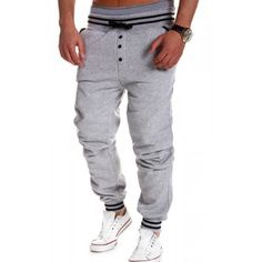 Loose Fit Stylish Lace-Up Button Embellished Rib Splicing Beam Feet Polyester Sweatpants For Men