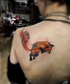 Watercolor fox on back shoulder by Felipe Rodrigues Fe Rod