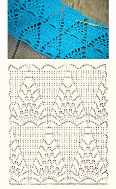 Crochet Square Patterns, Crochet Blocks, Crochet Stitches Patterns, Crochet Chart, Filet Crochet, Stitch Patterns, Knit Crochet, Crochet Scarves, Crochet Clothes