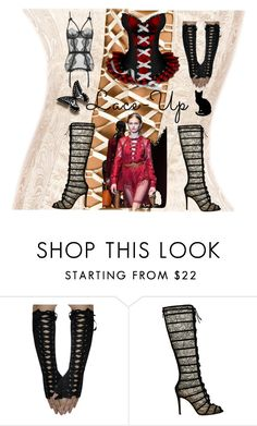 """""""Lace-Up"""" by karolinewells ❤ liked on Polyvore featuring Gianvito Rossi, Dita Von Teese, lace and corset"""